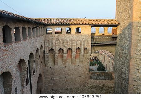 Courtyard of ancient fortress in Vignola Italy