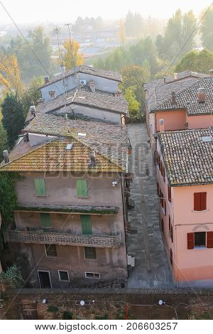 Historic city center of Vignola Italy. Top view from fortress