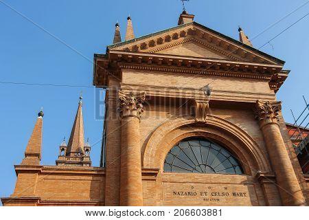 Vignola Italy - October 30 2016: Top part of old church of the Saints Nazarius and Celsus. Emilia-Romagna Modena
