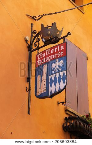 Vignola Italy - October 30 2016: Sign of italian restaurant in vintage style with old emblem and crown. Emilia-Romagna Modena