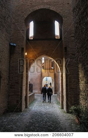 Vignola Italy - October 30 2016: Tourists walking in ancient fortress. Emilia-Romagna Modena
