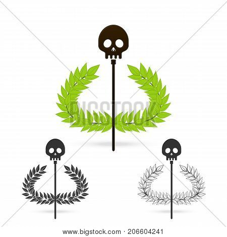 isolate olive branch with skull symbol of greek god hades on white background Vector illustration