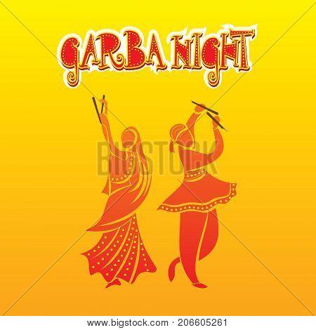 creative graba night dandiya dance playing in navratri festival poster design