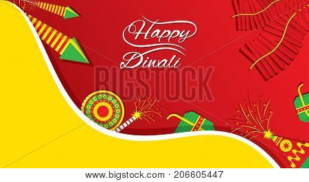 A beautiful greeting card with decorated with cracker indian diwali festival celebration design