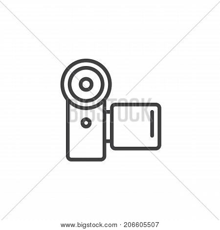 Camcorder line icon, outline vector sign, linear style pictogram isolated on white. Video camera symbol, logo illustration. Editable stroke