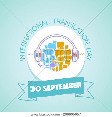 Calendar for each day on september 30. Greeting card. Holiday -International Translation Day. Icon in the linear style