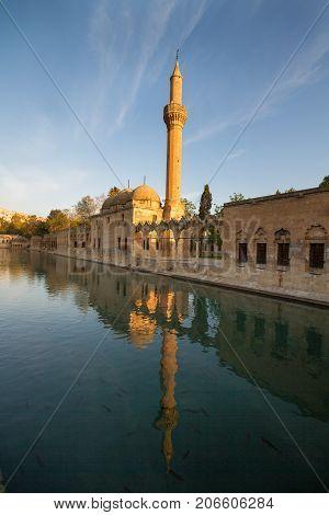 Mosque of Halil-ur-Rahman Reflection on Abraham's Pool Urfa Turkey