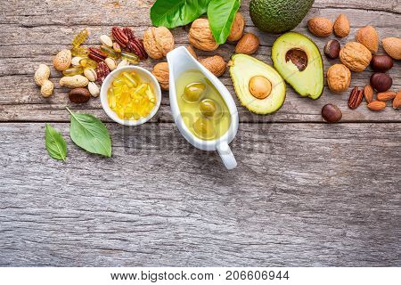 Selection Food Sources Of Omega 3 And Unsaturated Fats. Superfood High Vitamin E And Dietary Fiber F