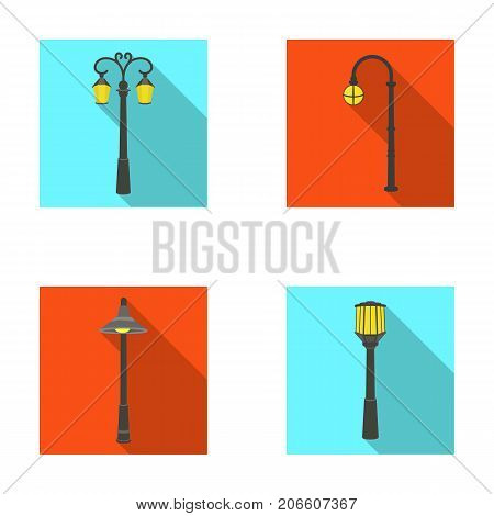 Lamppost in retro style , modern lantern, torch and other types of streetlights. Lamppost set collection icons in flat style vector symbol stock illustration .