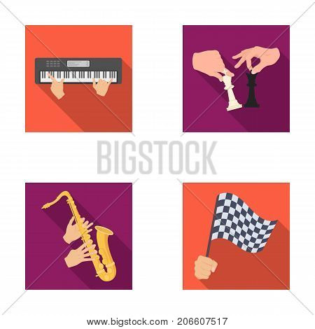 Playing on an electric musical instrument, manipulation with chess pieces and other  icon in flat style. playing on a gold saxophone, checkered flag of auto racing in hand icons in set collection.