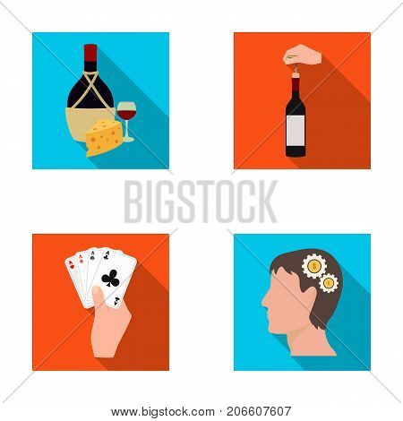 Bottle, a glass of wine and cheese, clogging with a corkscrew and other  icon in flat style. A combination of cards in hand, a person's head and an idea generator icons in set collection.