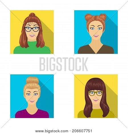 The face of a girl with glasses, a woman with a hairdo. Face and appearance set collection icons in flat style vector symbol stock illustration .