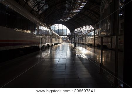 BARCELONA, SPAIN - JANUARY 22, 2014: The Estacio de Franca station is a prime example of the Spanish monumental architecture of the 20th century and the most beautiful railway station in Barcelona, Spain