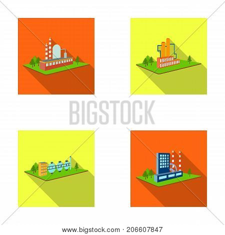 Processing factory, metallurgical plant. Factory and industry set collection icons in flat style isometric vector symbol stock illustration .