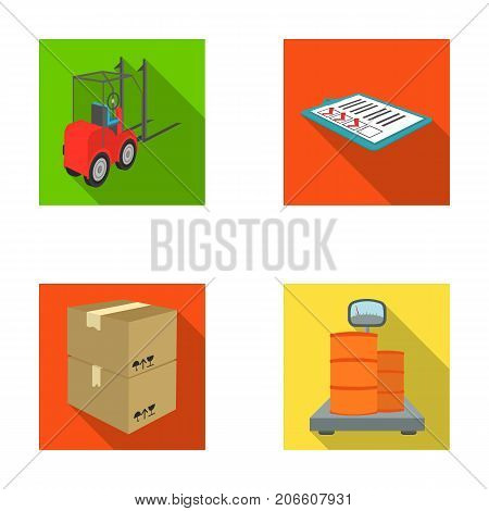 Forklift, delivery slips, packaged goods, cargo on weighing scales. Logistics and delivery set collection icons in flat style isometric vector symbol stock illustration .