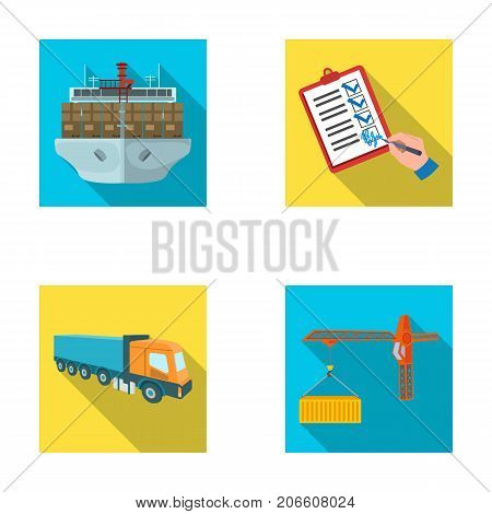 Sea freight, signature of delivery documents, truck, tower crane with a container. Logistics and delivery set collection icons in flat style isometric vector symbol stock illustration .