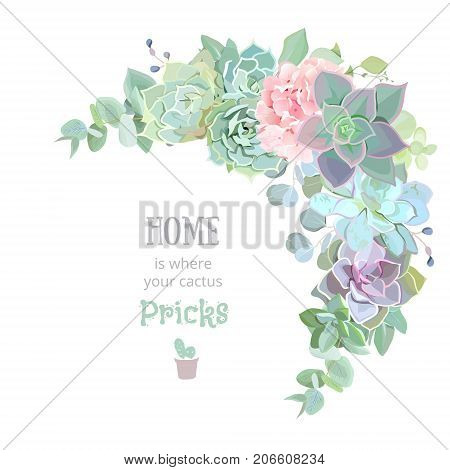 Wild desert floral crescent shaped vector frame with succulents, echeveria, hydrangea, eucalyptus. Rustic craft bouquet. Green and pink wedding template. All elements are isolated and editable