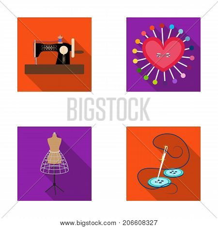 Needle and thread, sewing machine, pincushion, dummy for clothing. Sewing and equipment set collection icons in flat style vector symbol stock illustration .