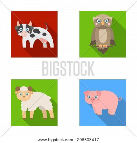 Forest, ecology, toys and other  icon in flat style.Animals, farm, enterprises icons in set collection.