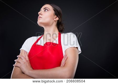 Low Angle Shot Of Supermarket Female Employee