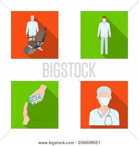 Doctor in a face mask, dentist, medical staff, a blood test for sugar. Medicineset collection icons in flat style vector symbol stock illustration .