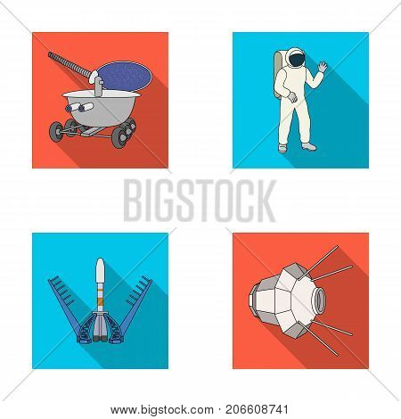Lunokhod, space suit, rocket launch, artificial Earth satellite. Space technology set collection icons in flat style vector symbol stock illustration .