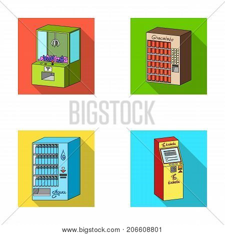 A game machine, a ticket sales terminal, an automaton for selling aqua and chocolate. Terminals set collection icons in flat style isometric vector symbol stock illustration .