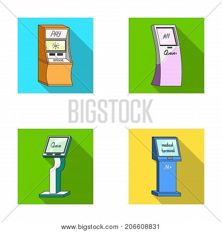 Medical terminal, ATM for payment, apparatus for queue, . Terminals set collection icons in flat style isometric vector symbol stock illustration .