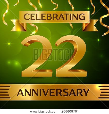 Realistic Twenty two Years Anniversary Celebration Design. Confetti and gold ribbon on green background. Colorful Vector template elements for your birthday party. Anniversary ribbon