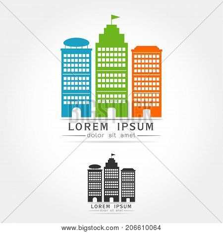 Abstract city view landscape vector logo icon isolated.Flat style design on white background Vector illustration