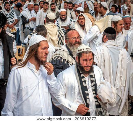 Mass Prayer. Hasids Pilgrims In Traditional Clothes. Uman, Ukraine - September 21, 2017: Rosh-ha-sha