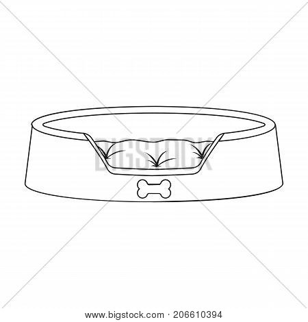 Lounger for a pet, a sleeping place. Care of a pet single icon in outline style vector symbol stock illustration .