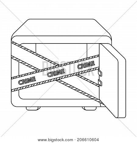 Opened safe with a protective tape. Creme, metal safe single icon in outline style vector symbol stock illustration .
