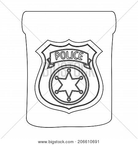 A badge, a police badge. Detective and police single icon in outline style vector symbol stock illustration .