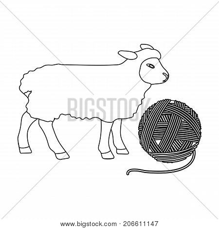 Wool, single icon in outline style.Wool vector symbol stock illustration .
