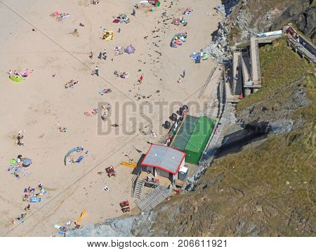 Aerial view of Perranporth beach from a paraglider