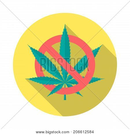 No cannabis circle icon with long shadow. Flat design style. No marijuana simple silhouette. Modern minimalist round icon in stylish colors. Web site page and mobile app design vector element.