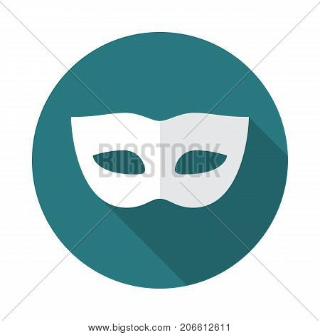 Carnival mask circle icon with long shadow. Flat design style. Mask simple silhouette. Modern minimalist round icon in stylish colors. Web site page and mobile app design vector element.