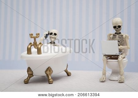 A skeleton talking on the phone while having bubble bath and other skeleton sitting on water closet with laptop on his lap
