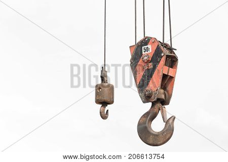 Crane hook weight lifting up to 50 tons isolated on white background.