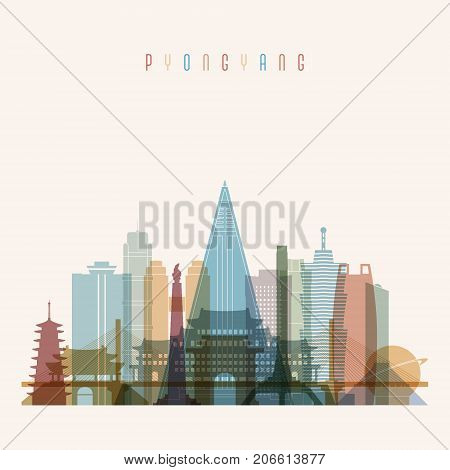 Pyongyang skyline detailed silhouette. Transparent style. Trendy vector illustration.