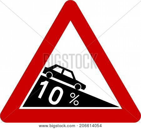 Warning sign with steep symbol on white background