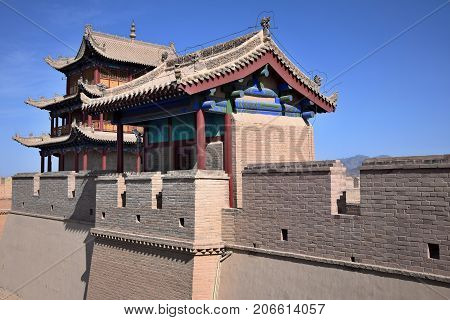 The Watchtower on the Jiayu Pass, the first pass at the west end of the Great Wall of China, near the city of Jiayuguan in Gansu province in China.