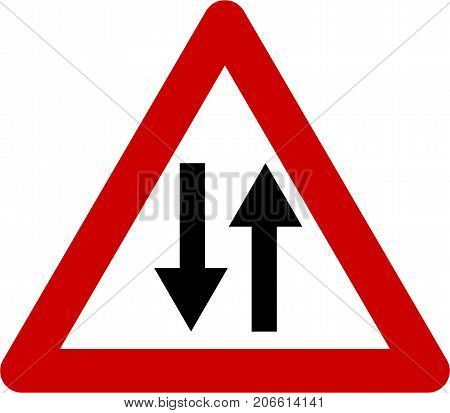 Warning sign with two way symbol on white background