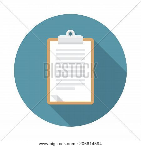 Notepad circle icon with long shadow. Flat design style. Notepad simple silhouette. Modern minimalist round icon in stylish colors. Web site page and mobile app design vector element.