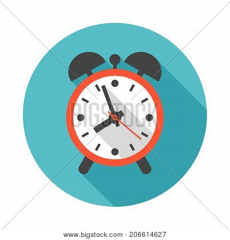 Alarm clock circle icon with long shadow. Flat design style. Clock simple silhouette. Modern minimalist round icon in stylish colors. Web site page and mobile app design vector element.