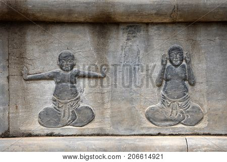 The detail of stone carving at Shaolin monastery in Henan province in China.