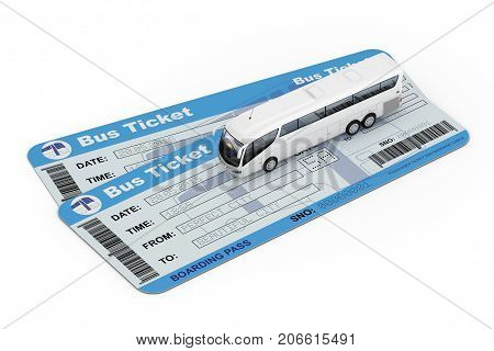 Big White Coach Tour Bus over Bus Tickets on a white background. 3d Rendering