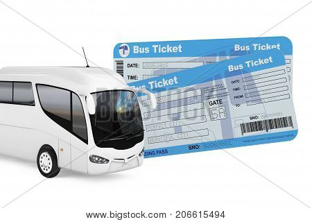 Big White Coach Tour Bus with Bus Tickets on a white background. 3d Rendering