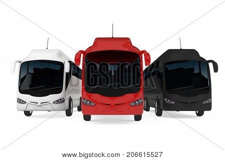 Row of Big Red White and Black Coach Tour Buses on a white background. 3d Rendering